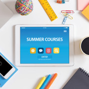 SUMMER COURSES CONCEPT ON TABLET PC SCREEN